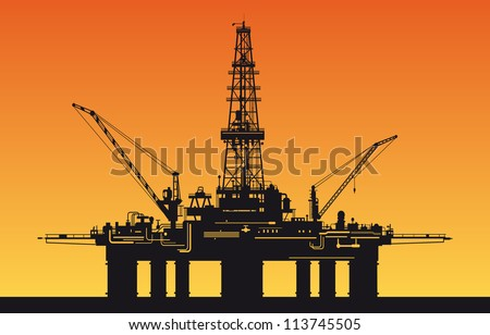 Oil derrick in sea for industrial design. Vector version also available in gallery - stock photo