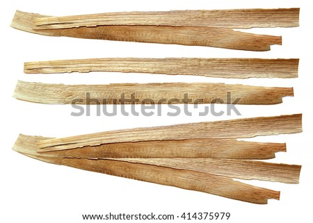 oil draw of dry fall iris leaf straw oil paint isolated element for scrapbook, paint object, corn leaf, painted wooden planks, set