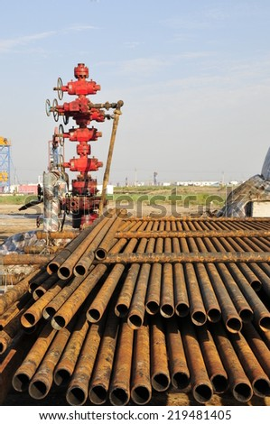 Oil drill pipe - stock photo