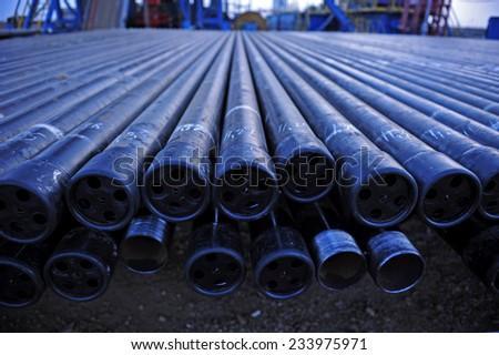 Oil drill pipe  - stock photo