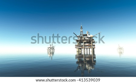 oil drill rig platform on the sea