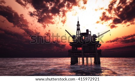 oil drill rig platform on the sea sunrise