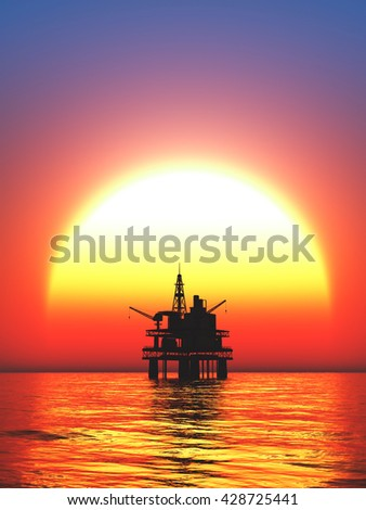 oil drill rig platform on the sea sunrise 3d rendering