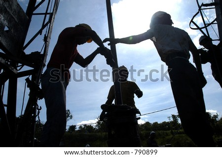Oil Drilling in Bontang, Kalimantan, Indonesia, Asia