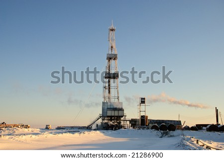 Oil drilling rig in East Siberia. - stock photo