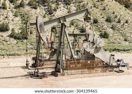 Oil drilling well, northern Utah. USA - stock photo