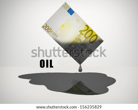 Oil Drips from 200 Euro Note - stock photo
