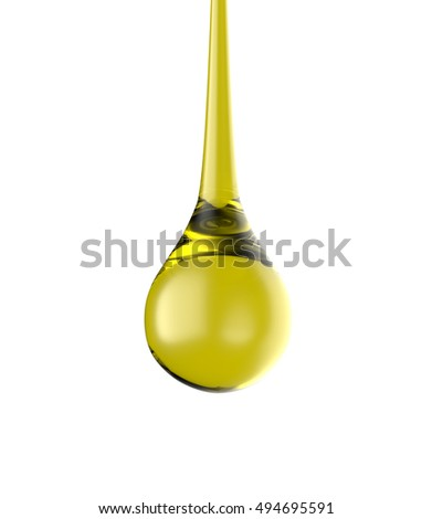 Oil drop isolate on white background, 3d rendering