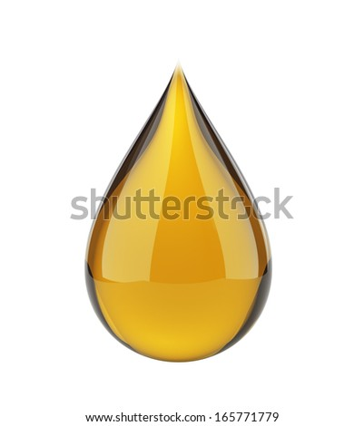 Oil drop on white isolated with clipping path  - stock photo