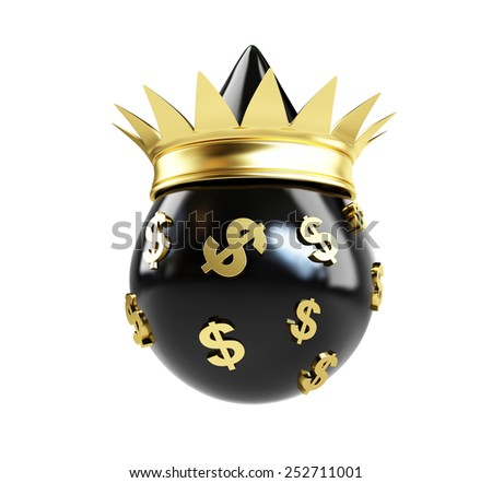 oil drop queen money on a white background - stock photo