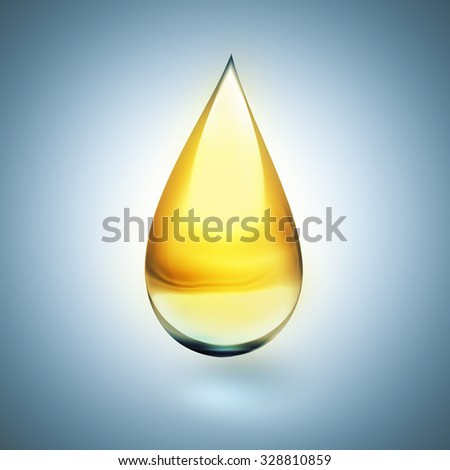 oil drop with soft shadow on light background - stock photo