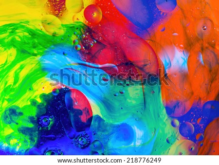 Oil drops on the water surface, abstract art - stock photo