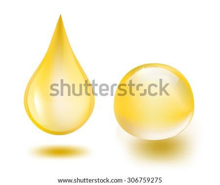 oil drops on white, raster illustration - stock photo