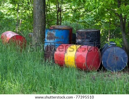 Oil drums in the nature - stock photo