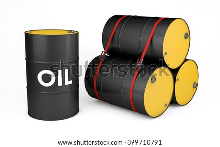 Oil drums isolated on white with clipping path. 3d rendering - stock photo