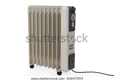 Oil electric heater on wheels isolated on white background