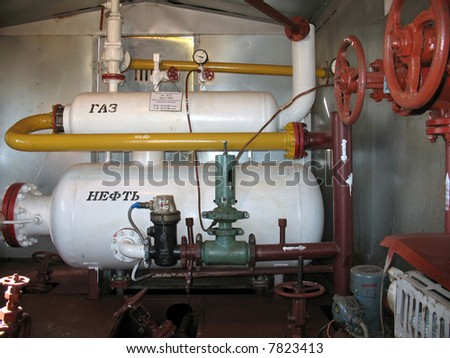 Oil equipment in West Siberia. - stock photo