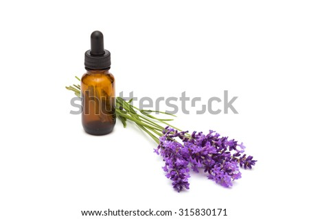 oil essence bottle and lavender flowers on white background