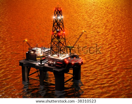 Oil exploration rig - stock photo