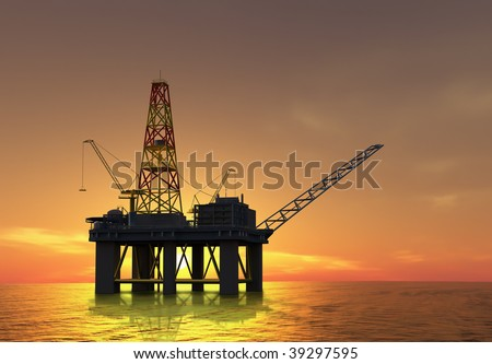 Oil exploration rig at sunset on the sea