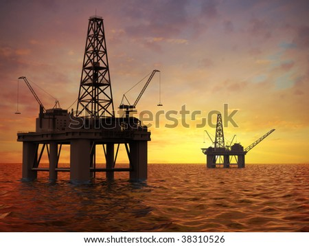 Oil exploration rigs - stock photo