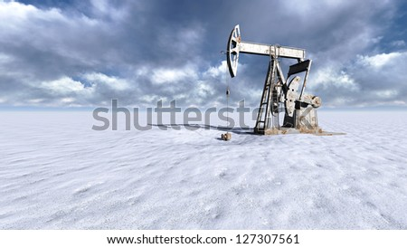 Oil field pump jacks at  snow and clouds in background - stock photo