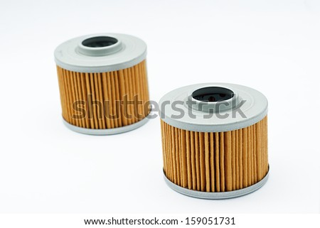 Oil Filter Element Filter isolated on White Background. spare parts - stock photo