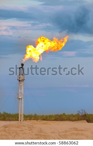 Oil gas flare - stock photo