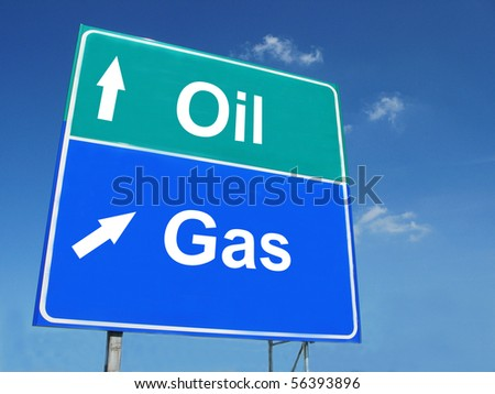 OIL--GAS road sign - stock photo