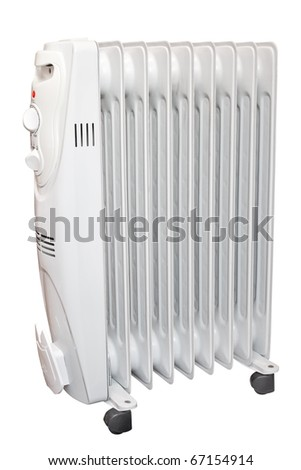 Oil heater. Isolated on white background with clipping path. - stock photo