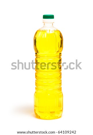 oil in bottle isolated on white - stock photo