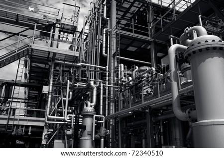 oil industrial installation in dark blue duplex toning - stock photo
