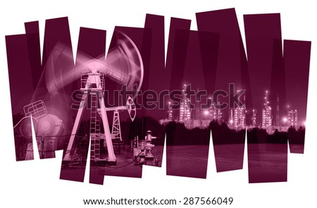 Oil industry abstract  background. Oil and gas industry. Photo collage toned. Isolate on a white. - stock photo