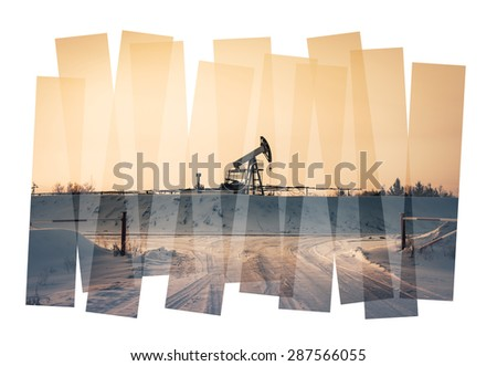 Oil industry abstract composition background. Oil and gas industry. Photo collage toned. Isolate on a white. - stock photo