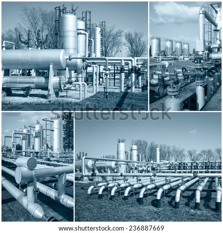 Oil industry collage - stock photo
