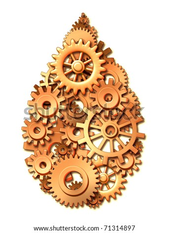 oil industry drop symbol business gears cogs energy policy power - stock photo