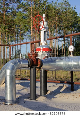 Oil Industry. Gas pipeline with a red gate. Western Siberia, Russia. - stock photo