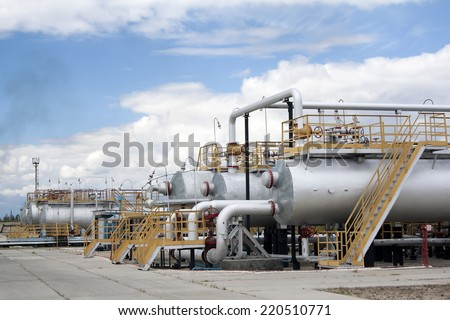 Oil industry. Oil and gas refinery plant. Industrial scene of oil extraction
