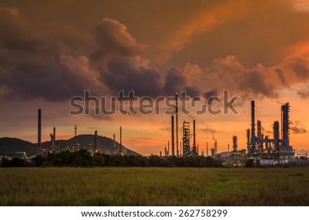 Oil Industry Sunset - stock photo