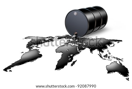 Oil Industry with a black drum barrel pouring and spilling out fossil fuel liquid crude as a map of the world as an energy concept of international commodities trading by the oil cartel. - stock photo