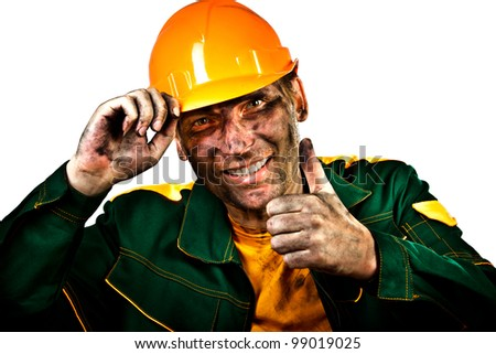 oil industry worker on a white background - stock photo