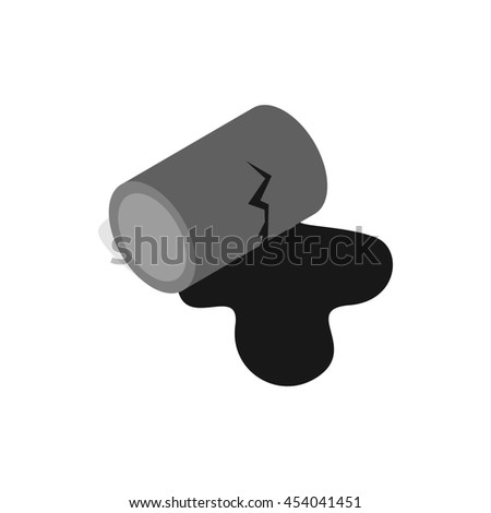 Oil is spilling from the barrel icon in isometric 3d style on a white background - stock photo