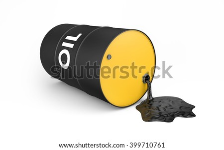 Oil is spilling from the barrel. isolated on white with clipping path. 3d rendering - stock photo