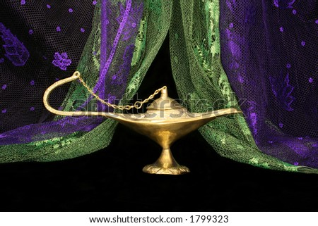 Oil Lamp and Scarves from the Middle East - stock photo
