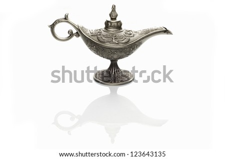 Oil lamp east design with egypt or arabic texture with reflectio - stock photo