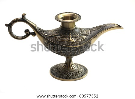 Oil lamp east design with egypt texture - stock photo