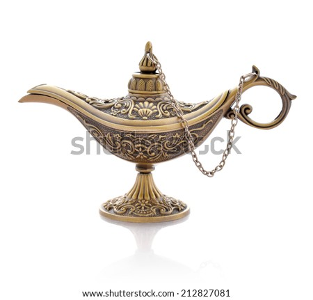 Oil lamp in oriental style with floral texture isolated on white  - stock photo