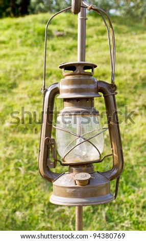 oil lamp in the yard - stock photo
