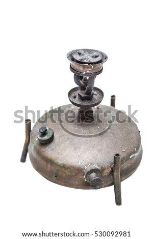 Oil lamp kerosene ancient thai southeast asia equipment isolated on white background