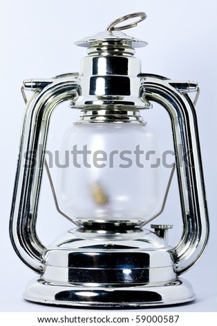 oil lamp on the white background - stock photo
